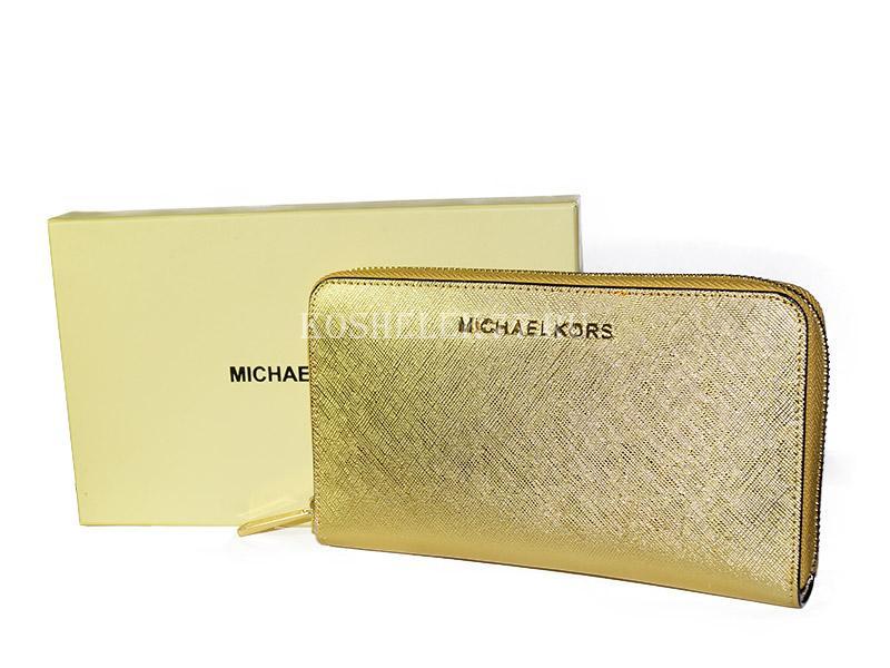 d7654682fd45 Кошелек MICHAEL KORS на молнии золотой MK36-05-S